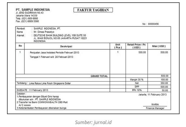 Contoh Invoice Perorangan ke Perusahaan 4