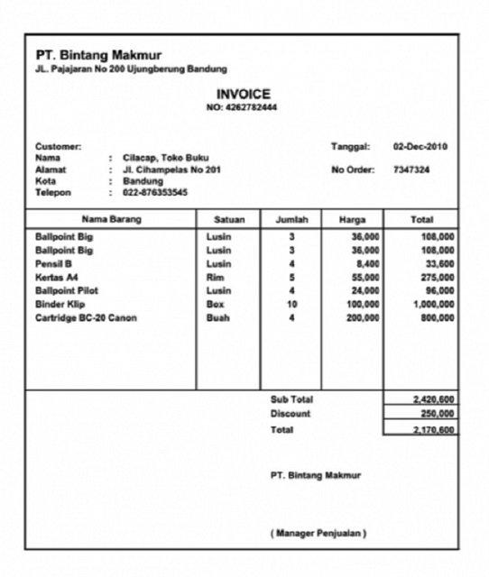 Contoh Invoice Perorangan ke Perusahaan 5