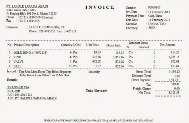 Contoh Invoice Perorangan ke Perusahaan 13