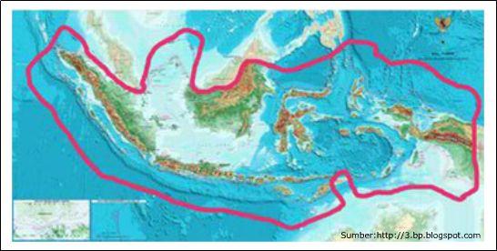 Iklim di Indonesia: Peta wilayah daratan dan lautan Indonesia (sumber: sumber.belajar.kemdikbud)
